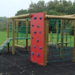 climbing frame with rock climbing wall